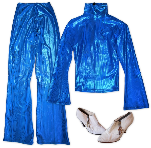 Prince Worn Electric Blue Shirt & Pants With Beige Shoes -- Worn on the Cover of His 1999 Album Rave Un2 The Joy Fantastic & Also Onstage With Lenny Kravitz Performing American Woman