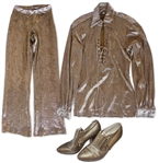 Prince Stage-Worn Gold Mesh Shirt & Pants -- With Gold Shoes Adorned With His Love Symbol