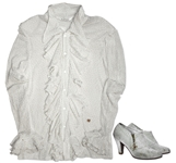 Prince Stage-Worn Ruffled Cream Blouse -- & Matching Self-Covered Shoes With His Personal Symbol as Zipper Pulls