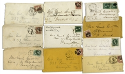 Lot of 10 George Custer Envelopes Made Out in His Hand to His Wife -- Mrs. Genl Custer