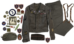 Unique Collection of World War II Items Including a Full Uniform Worn by a Corporal in the 3rd Army -- Lot Includes Badges, Pins & a Personal Photo Owned by the Soldier