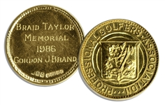 PGA Braid Taylor Memorial Medal From 1986 -- Awarded to Gordon J. Brand -- One of the Most Prestigious PGA Awards, Given to the Highest Finishing PGA Member of the British Open
