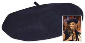 Alicia Keys Worn Navy Blue Beret Designed by Lola-- With a COA From Alicia Keys