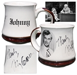 Johnny Carson Signed Mug Used on His Desk During The Tonight Show -- Previously Owned by Carsons Personal Correspondent Who Worked on the Show for 10 Years