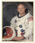 Neil Armstrong Uninscribed Signed Photo in His White Spacesuit -- With Steve Zarelli COA