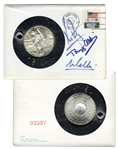 Apollo 11 Cover Signed by Neil Armstrong, Buzz Aldrin & Michael Collins -- With Man on the Moon Silver Medal & With COA From Steve Zarelli
