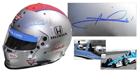 Mario Andretti Signed Helmet Worn at 2015 Indy 500 -- With COA From PSA/DNA