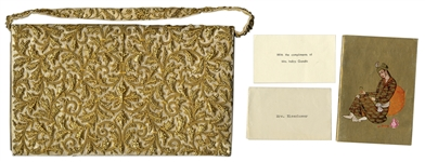 Mamie Eisenhower Personally Owned Gold Beaded Purse -- Given to the First Lady by Indira Gandhi on the Eisenhowers Historic Trip to India in 1959 -- With a Note Card From Indira Gandhi