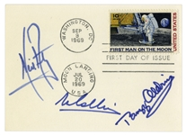 Apollo 11 First Day Cover Boldly Signed by Neil Armstrong, Buzz Aldrin and Michael Collins -- With LOA From Steve Zarelli