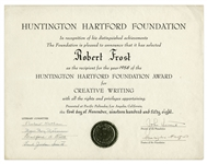 Robert Frosts 1958 Creative Writing Award From the Huntington Hartford Foundation -- Awarded To Influential Writers, Artists, Composers