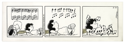Charles Schulz Hand-Drawn Peanuts Strip From 1993 Featuring Lucy & Schroeder at His Piano