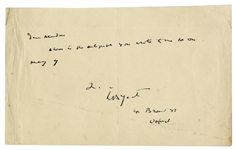 William Butler Yeats Signed Note to Fan