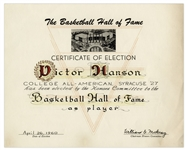 Vic Hanson Basketball Hall of Fame Induction Certificate -- Only Athlete in History Elected to Basketball HOF and College Football HOF