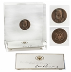 John F. Kennedy Signed Presidential Card in Lucite Display -- With Bronze Inauguration Day Medal Given to White House Employees in JFK Administration