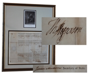 Thomas Jefferson & James Madison Signed 1804 Ships Passport -- Beautifully Framed Display