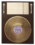 Tex Beneke Commemorative Gold Record for Chattanooga Choo Choo -- First Record to Ever Sell One Million Copies