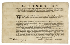 Continental Congress President Henry Laurens Signed Military Appointment for the Revolutionary War