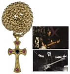 Garry Beers of INXS Stage-Worn Sapphire & 22k Cross Necklace by Theo Fennell -- With LOA From Garry Beers