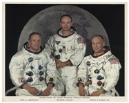 Apollo 11 Crew-Signed 10 x 8 Photo -- Neil Armstrong, Michael Collins & Buzz Aldrin -- Uninscribed