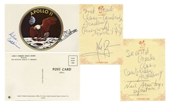 Apollo 11 Postcard Signed by Michael Collins & Buzz Aldrin -- With Note Signed by Neil Armstrong