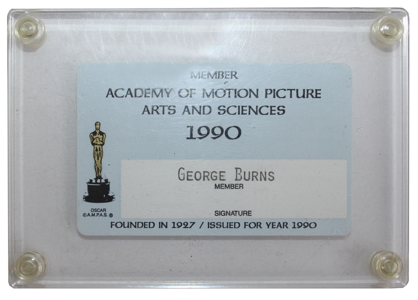 George Burns Motion Picture Academy Membership Card From 1990