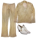 Prince Worn Gold Crochet Shirt & Pants -- With White Heeled Shoes Adorned With His Love Symbol
