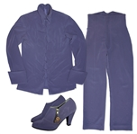 Prince Stage Costume in His Signature Purple -- Complete Costume With Blouse, Pants, Socks & Shoes Adorned With His Love Symbol