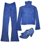 Prince Worn Blue Costume -- Flashy Stage Costume With a Pair of His High Heeled Shoes Adorned With His Love Symbol