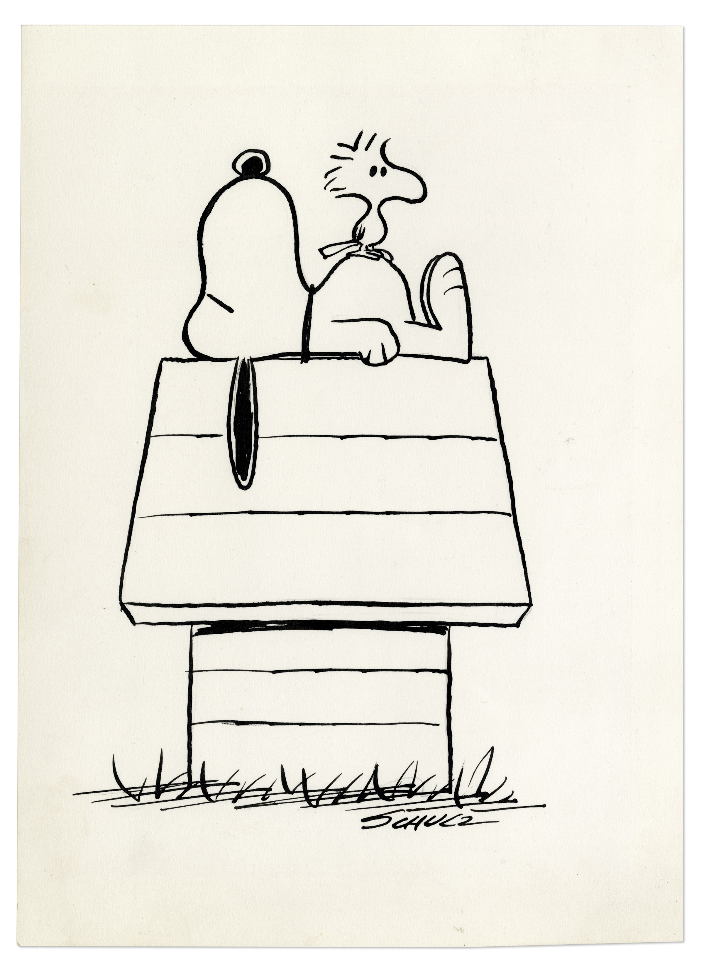 Charles Schulz Snoopy sketch signed