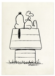 Charles Schulz Drawing of Snoopy & Woodstock From Peanuts