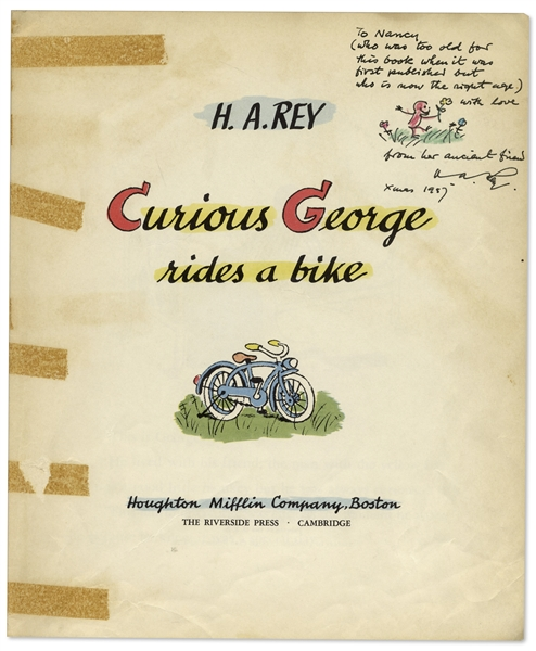 Curious George First Edition, Signed by H.A. Rey With Original Ink Drawing of Curious George -- ''Curious George Rides a Bike'' From 1952