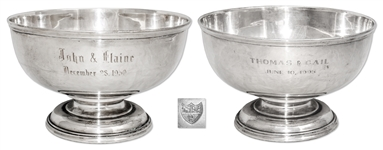 John Steinbeck Personally Owned & Custom Engraved Family Heirloom Silver Punch Bowl -- With LOA From Thomas Steinbeck