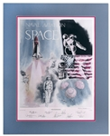 Neil Armstrong Signed Lithograph -- Also Signed by 8 Other NASA Astronauts Including Alan Shepard & John Glenn