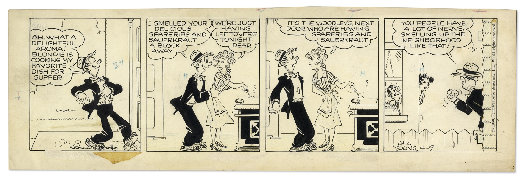 2 Chic Young Hand-Drawn ''Blondie'' Comic Strips From 1960 -- With Chic Young's Original Preliminary Artwork for One