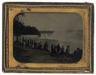 Large Half-Plate Ambrotype of Niagara Falls -- From the Estate of Civil War General John Homer Howe, Circa 1865