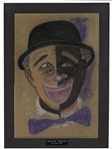 Redd Foxx Signed Oil Pastel Painting of a Clown -- From Redd Foxx Estate