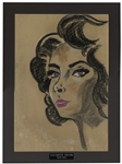 Redd Foxx Signed Oil Pastel Painting of Elizabeth Taylor With Violet Eyes -- From Redd Foxx Estate