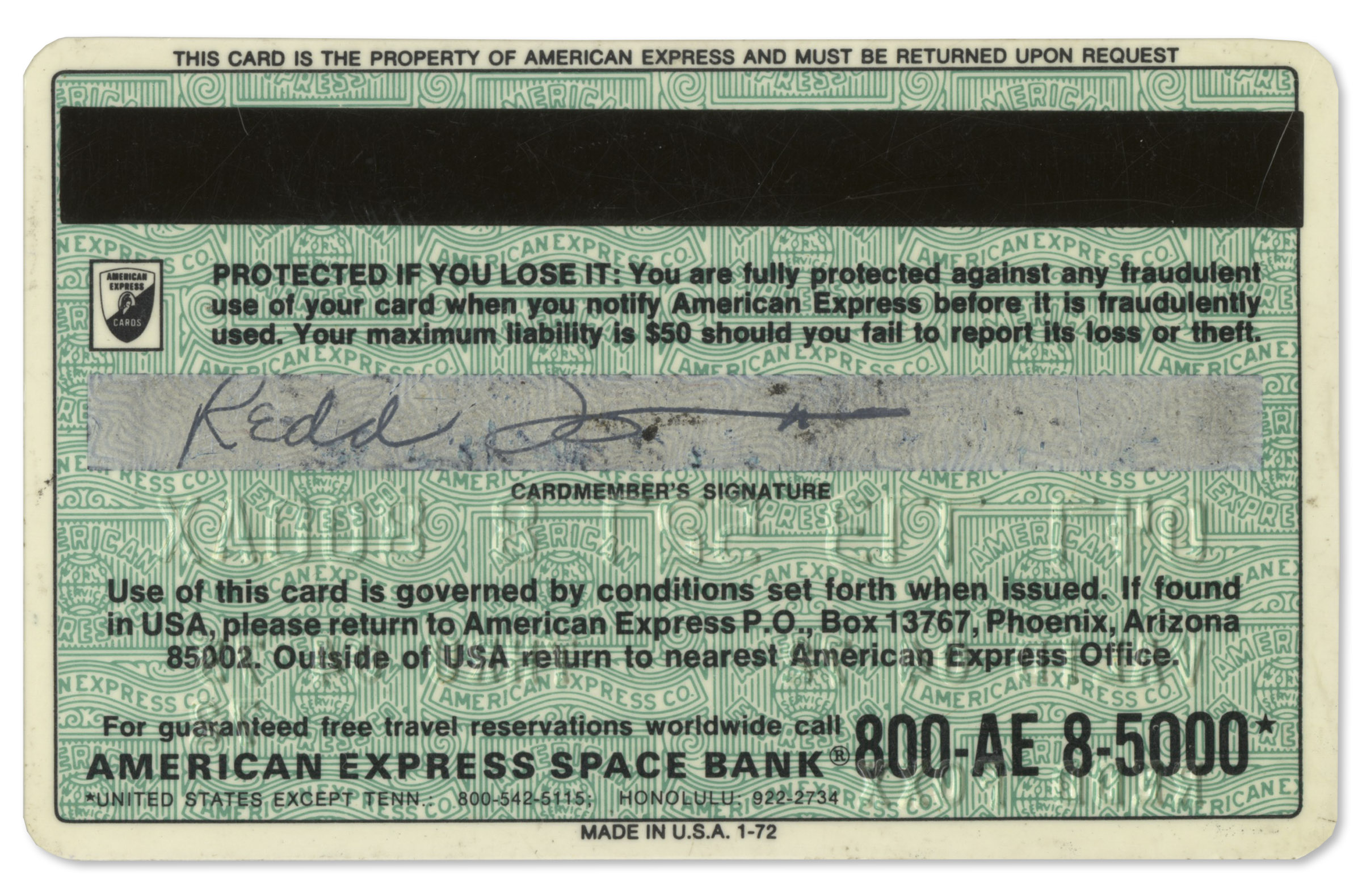 Lot detail redd foxx signed credit card from 1972 3 months redd foxx signed credit card from 1972 3 months after premiere of reheart Gallery