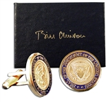 Bill Clinton Diecast Presidential Seal Cufflinks -- Housed in a Bill Clinton Engraved Box -- Approx. 0.75 in Diameter -- Fine