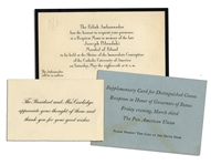 Calvin Coolidge Thank You Card -- Lot Also Includes Diplomatic Invitations
