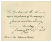 President Benjamin Harrison 1891 Dinner Invitation Addressed to New Hampshire Governor Person Colby Cheney