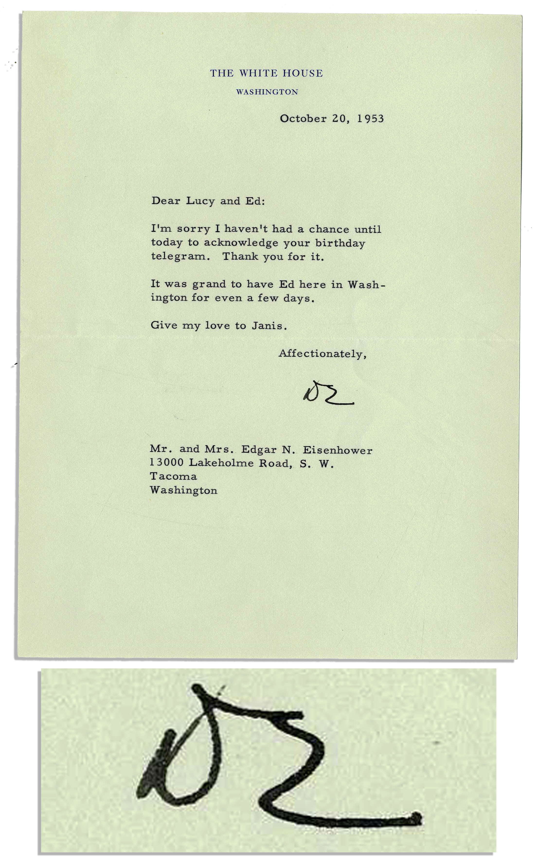 dwight d eisenhower typed letter signed as president thanking his brother for the