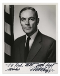 Alexander Haig Signed Photo as Secretary of State under Ronald Reagan -- 8 x 10 Glossy With White House Backstamp -- Near Fine Condition