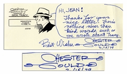 Chester Gould Autograph Note Signed -- With Cartoonists Famous Character Dick Tracy