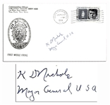 Manhattan Project Engineer Kenneth Nichols Cover Signed -- K.D. Nichols / Major General USA -- Postmarked Cape Canaveral, 1964 -- 6.5 x 3.5 -- Fine
