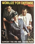WWII Red Cross Poster -- Mobilize For Defense -- Featuring Norman Rockwell Art