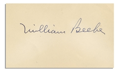 1940 Signature by Famed Naturalist and Explorer William Beebe -- on 5 x 3 Notecard, With Original Envelope -- Near Fine