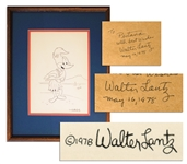 Woody Woodpecker As A Hula Dancer!  Signed By Woody Creator Walter Lantz