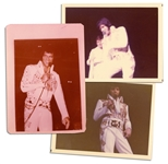 Elvis Presley in 17 October 1976 at a Bloomington, Minnesota Concert -- Lot of Three Satin-Finish Photos: Two 4.5 x 3.5 & One 3.5 x 4.75 -- Very Good
