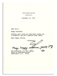 As President, George H.W. Bush Sends Birthday Wishes Via a Letter Signed With an Additional Autograph Note Signed